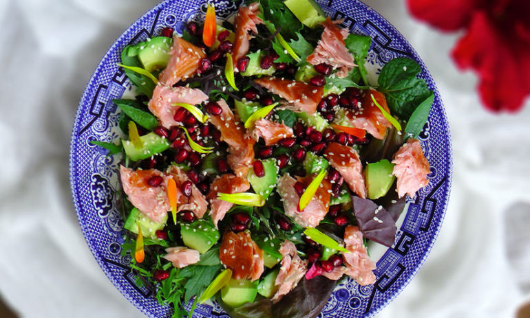 A Lighter Lunch: Arugula, Pomegranate + Salmon Salad Hero Image