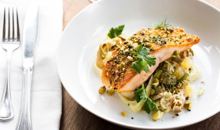 Up Your Dinner Game With This Seared Salmon + Green Potato Salad Hero Image