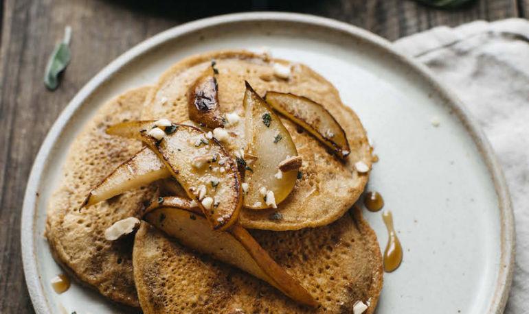 Sautéed Pear Gluten-Free Pancakes (Made With Chickpea Flour!) Hero Image