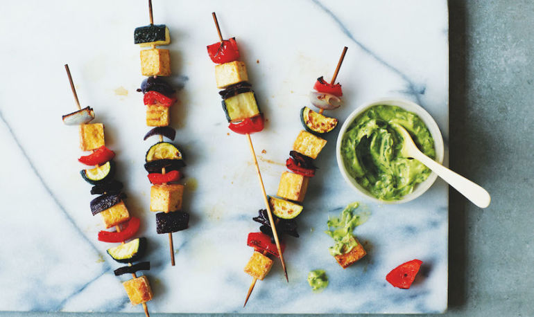 Grilled Tofu Skewers With Green Goddess Sauce Hero Image