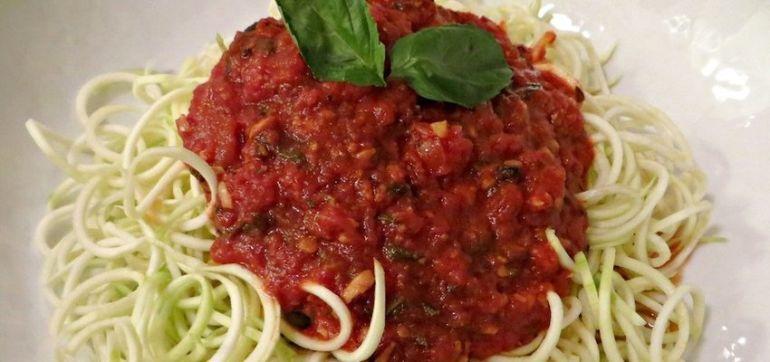 Raw Recipe: Zucchini 'Pasta' With Tomatoes & Artichokes Hero Image