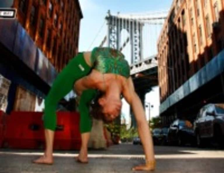 Yoga on the Streets of Dumbo, Brooklyn