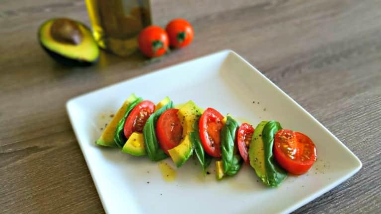 Super Simple Salad Recipe: Tomato + Avocado Caprese