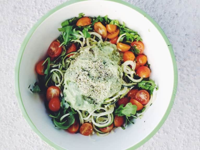 Easy, Delicious 15-Minute Meal: Zoodles With Creamy Avocado Pesto