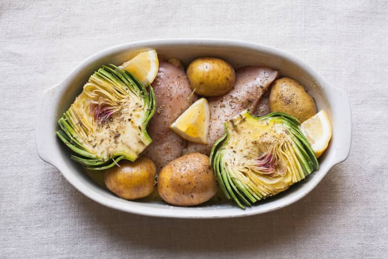 It's Artichoke Season! Try Them With This Roasted Chicken + Potatoes