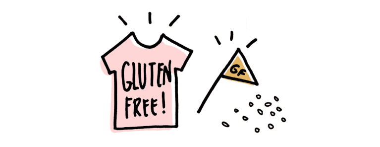 "cartoon sketch of pink t-shirt reading ""gluten free!"" and triangle flag reading ""gf"""