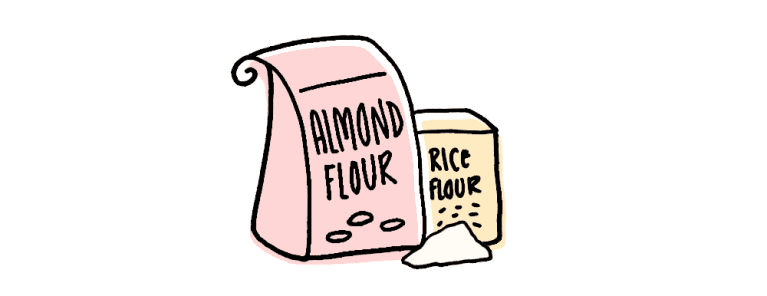drawing of almond and rice flour