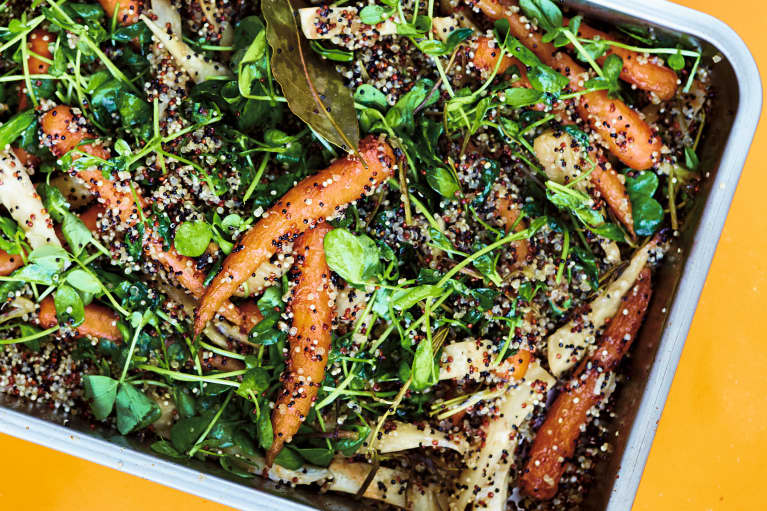 This Genius Winter Vegetable One-Pan Dinner Is Packed With Protein (No Dirty Pots & Pans Necessary!)