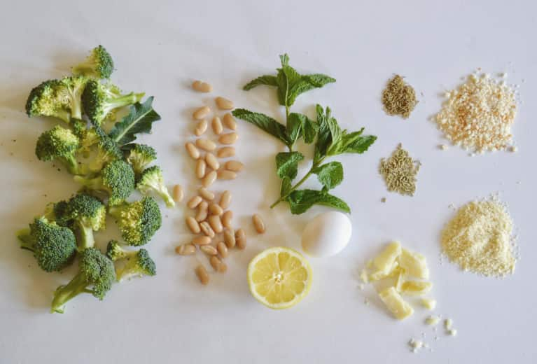 "Broccoli, White Bean + Ricotta ""Meatballs"" With Herbed Tahini Yogurt"