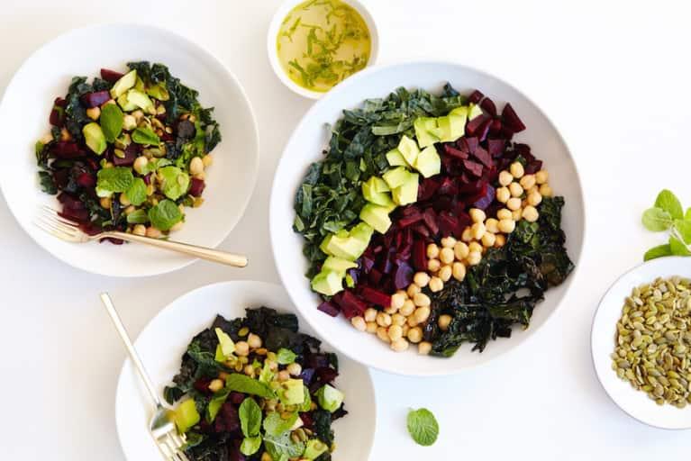 Raw + Roasted Kale + Beet Chopped Salad