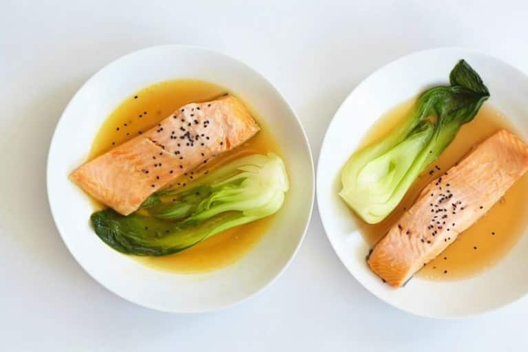 Broth-Poached Black Sesame Salmon + Bok Choy