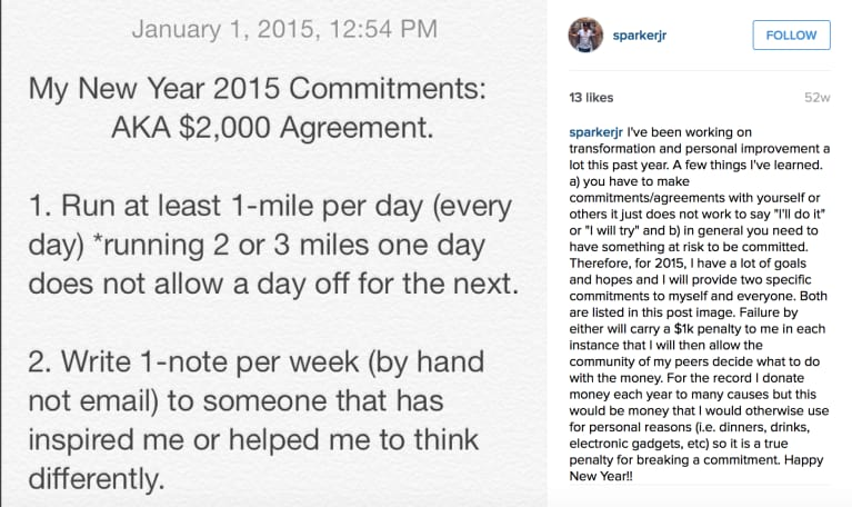 My Instagram post declaring my goal for the year.