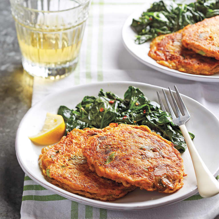 Perfect Paleo Dinner: Sweet Potato-Mushroom Pancakes With Spicy Skillet Spinach