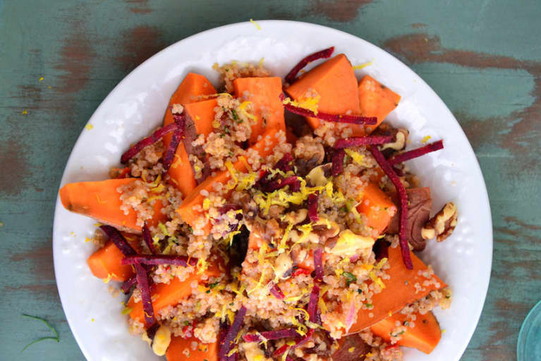 Perfect Weekday Lunch: Sweet Potato + Walnut Quinoa Bowl