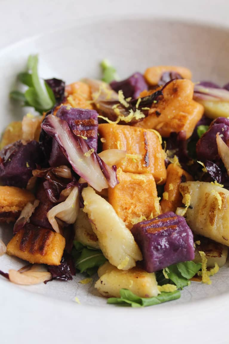 When Comfort Food Meets Healthy: Tricolor Sweet Potato Gnocchi With Fall Greens