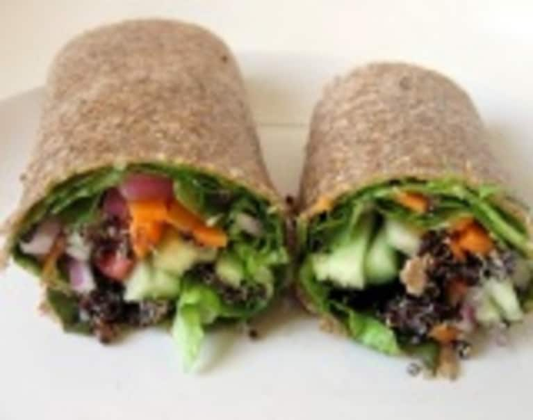 Vegetable Wrap with Black Quinoa and Cucumbers