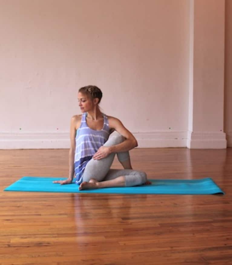 seated spinal twist yoga pose