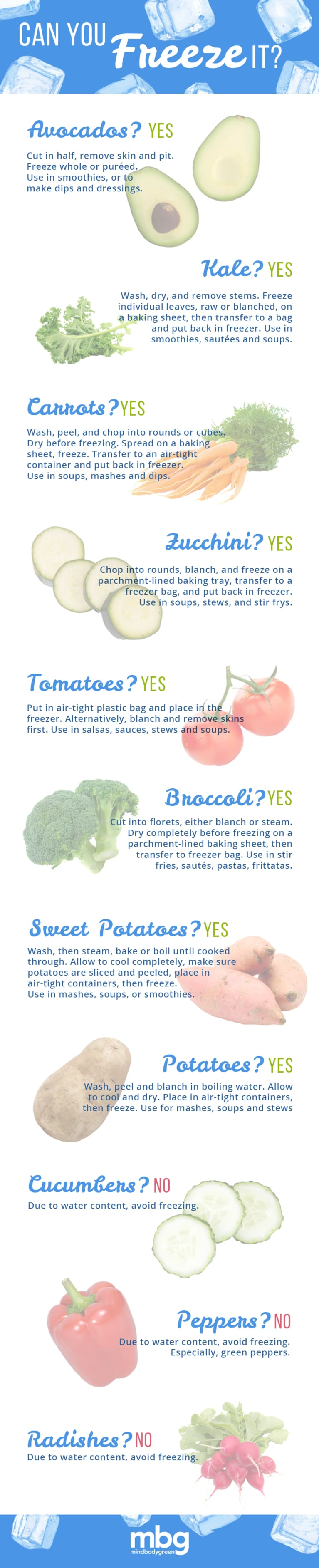 Can You Freeze It? A Mini Guide To Vegetables (Infographic)
