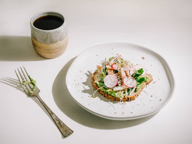 Breakfast Avocado Toast with Radishes and Alfalfa Sprouts