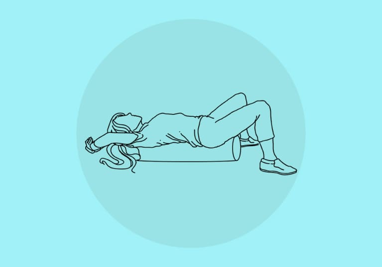 sketch of woman laying vertically on foam roller