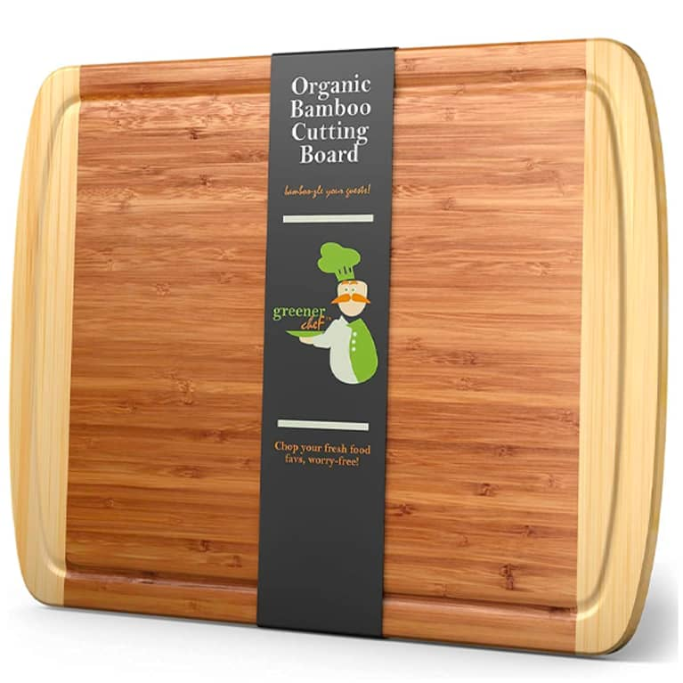 bamboo cutting board with black label