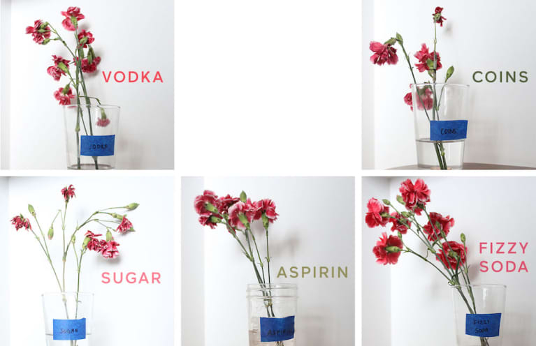 five small bouquets of flowers