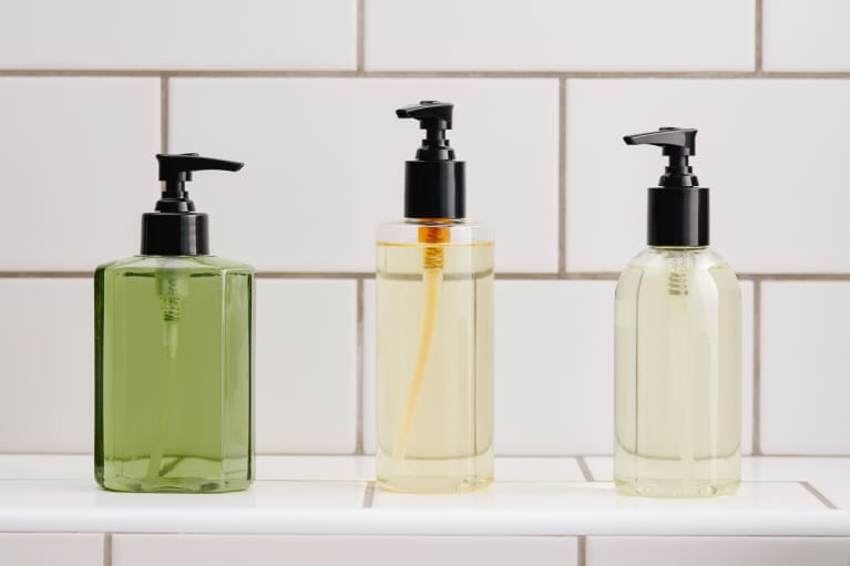 Brandless Skincare/Beauty Bottles on a Bathroom Counter