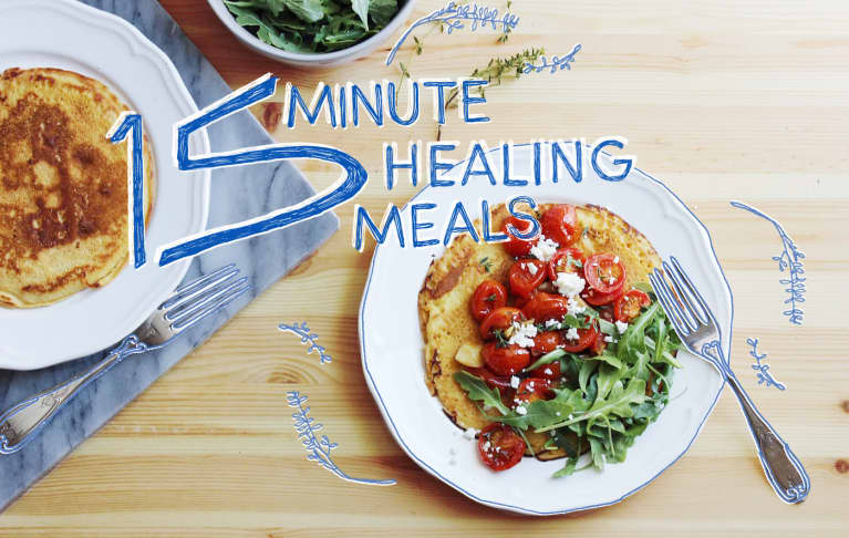 15-Minute Healing Meals: Chickpea Pancakes With Roasted Tomatoes