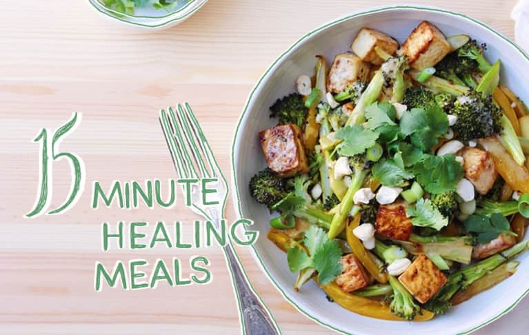 15-Minute Healing Meal: Roasted Broccoli + Tofu Bowls With Miso Dressing
