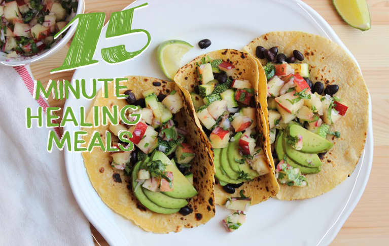 Black Bean + Summer Squash Tacos With Sweet Nectarine Salsa