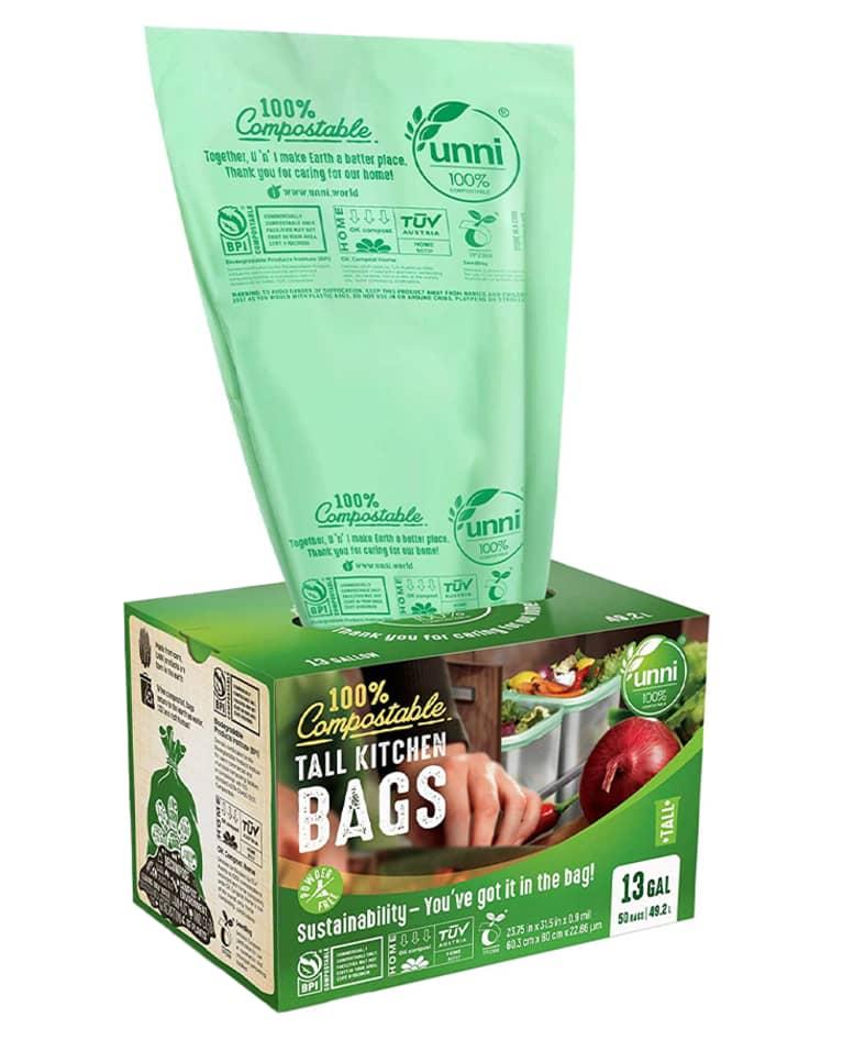 green compostable trash bag in green box