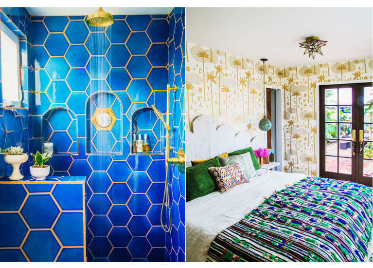 Justina Blakeney's bright blue shower and colorful bed