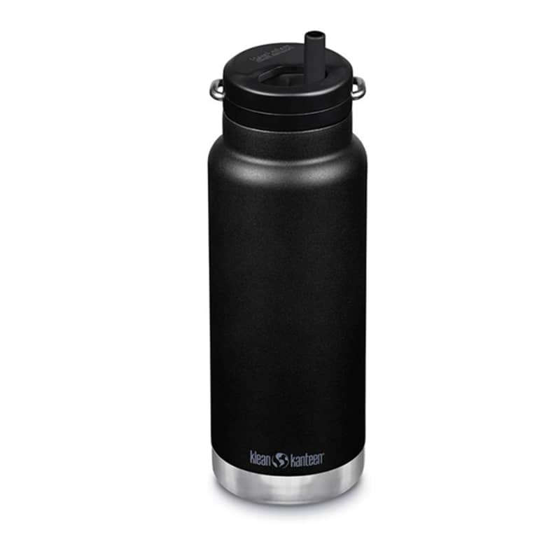 black water bottle with built-in straw lid
