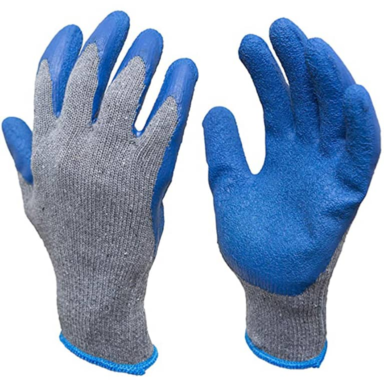 grey cotton gardening gloves with blue fingerprints