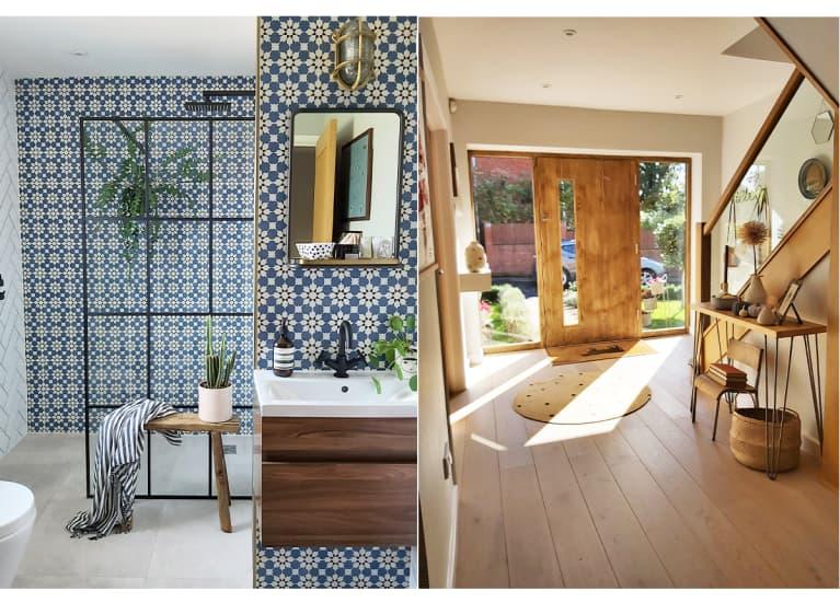bathroom with wood vanity; sunny entryway