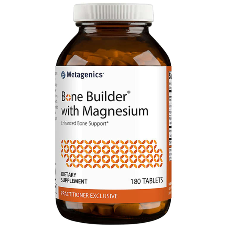 amber magnesium supplement bottle with white label