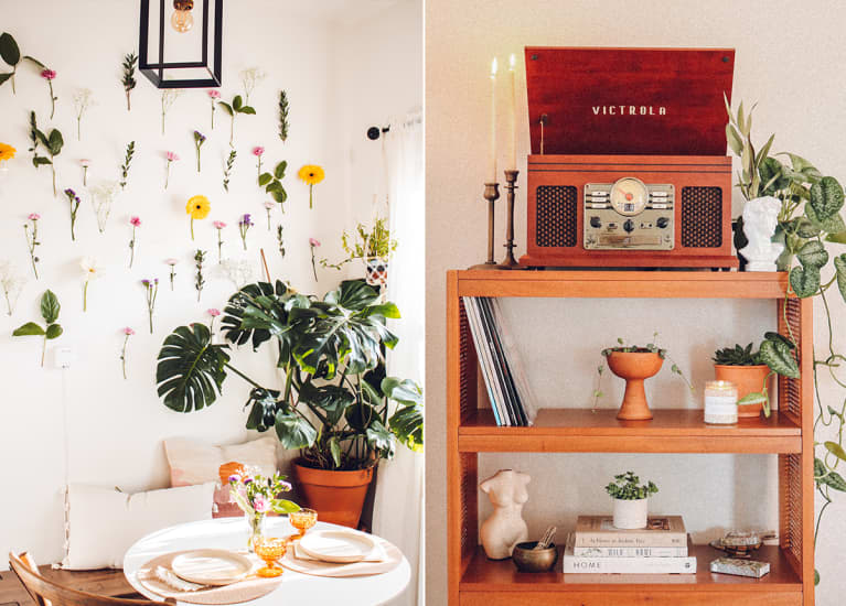 flowers taped to wall in soothing breakfast nook