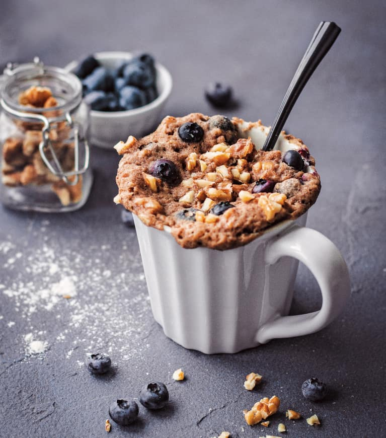 These Vegan Blueberry Muffin Mug Cakes Are 100 Percent Ready To Eat In Under 5 Minutes