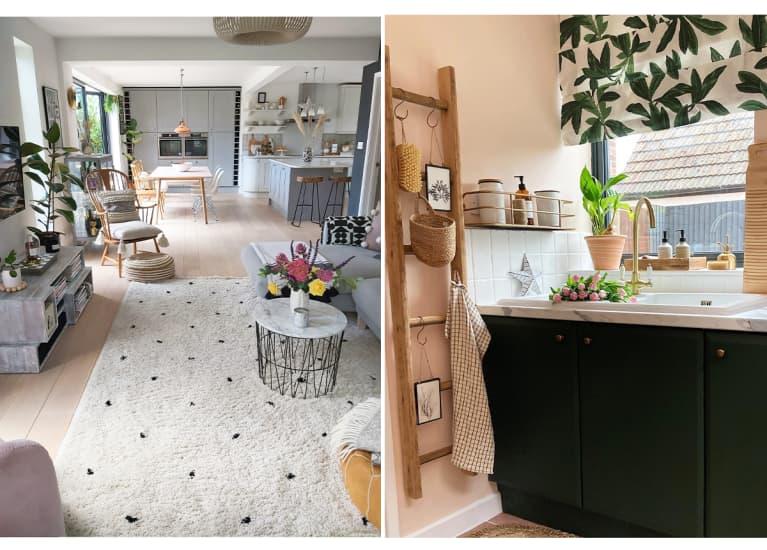 Light living room with light carpet; sunny bathroom with black vanity