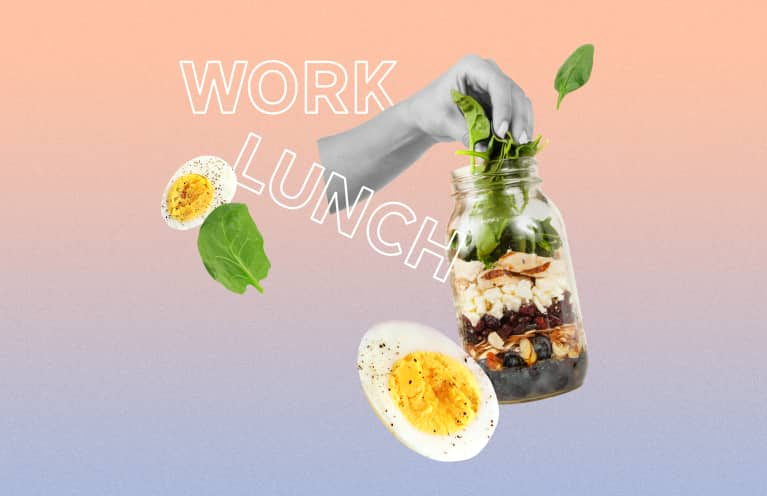 collage about bringing healthy lunches to work