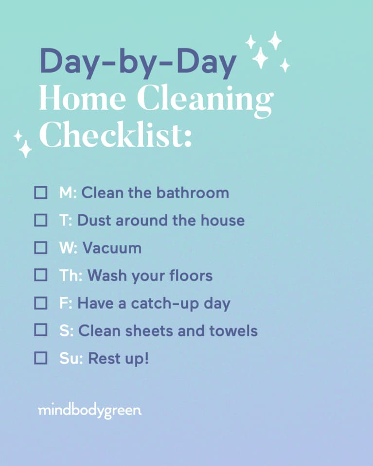 This Day-By-Day Home-Cleaning Checklist Is Going To Change Your Week