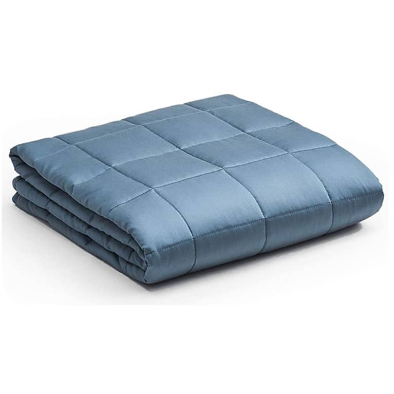 Grey blue weighted blanket from YNM, folded up.
