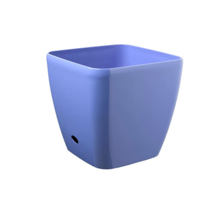Square self-watering planter in blue