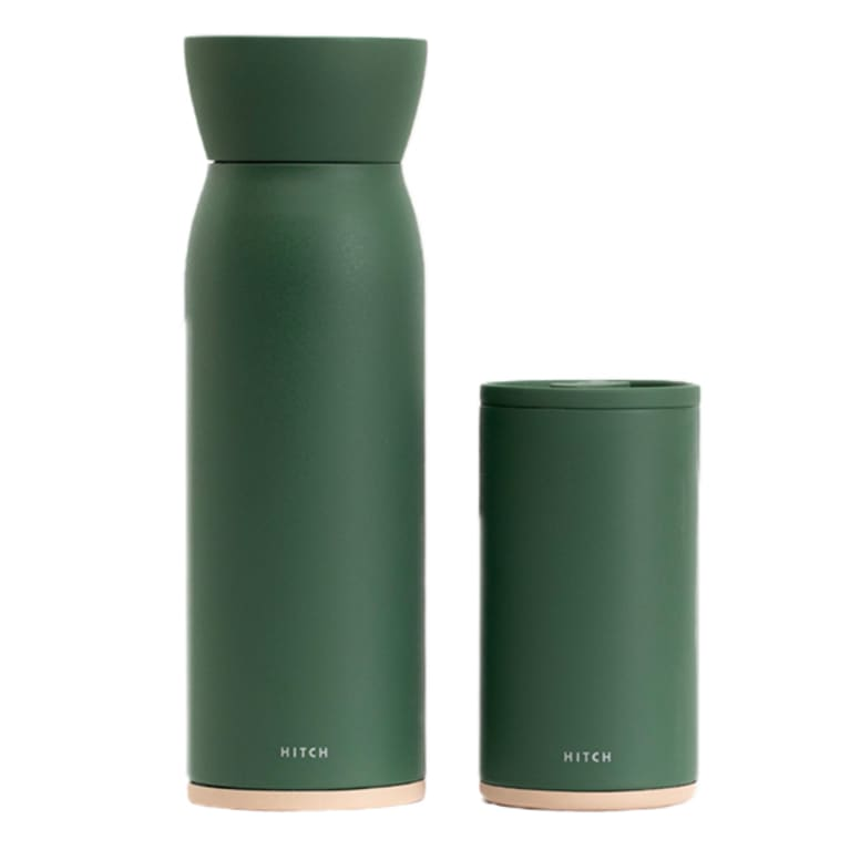 green bottle with removable cup lid