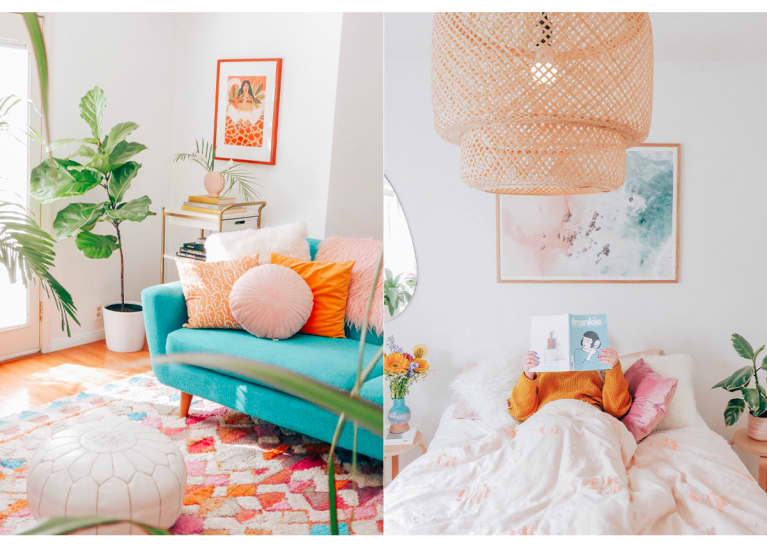 Views of Erica Carlock's LA living room and bedroom