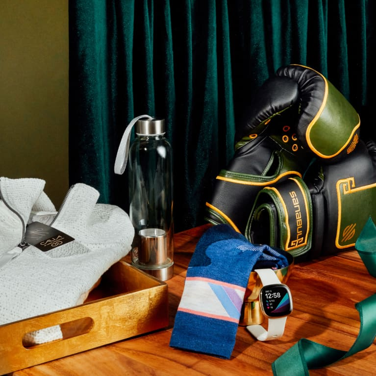 fitness gifts on a table