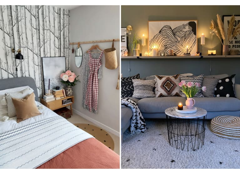 Bed with salmon-colored sheets; cozy living room couch with lots of trow pillows