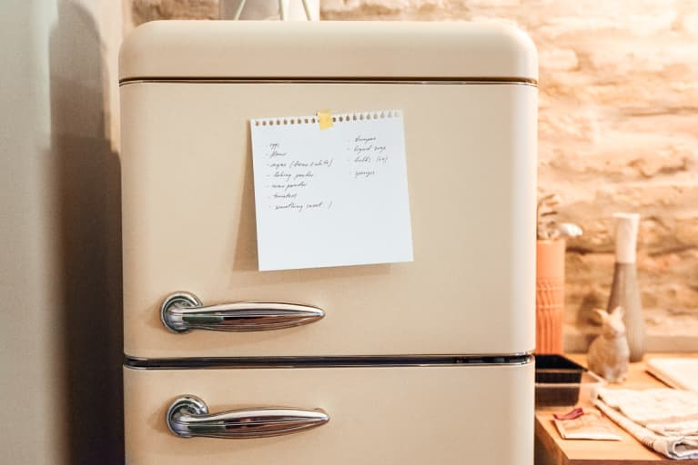 Shopping List On Fridge At Home