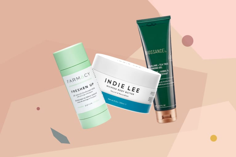 collage of the best new natural and green beauty products from February 2019