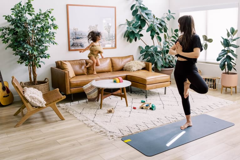 Woman and child exercising